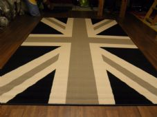 Modern Approx 8x5 160x230cm Woven Backed Union Jack Black/Grey/Cream Quality rug